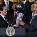 دیدار باراک اوباما با اعضای تیم میامی هیت در کاخ سفید